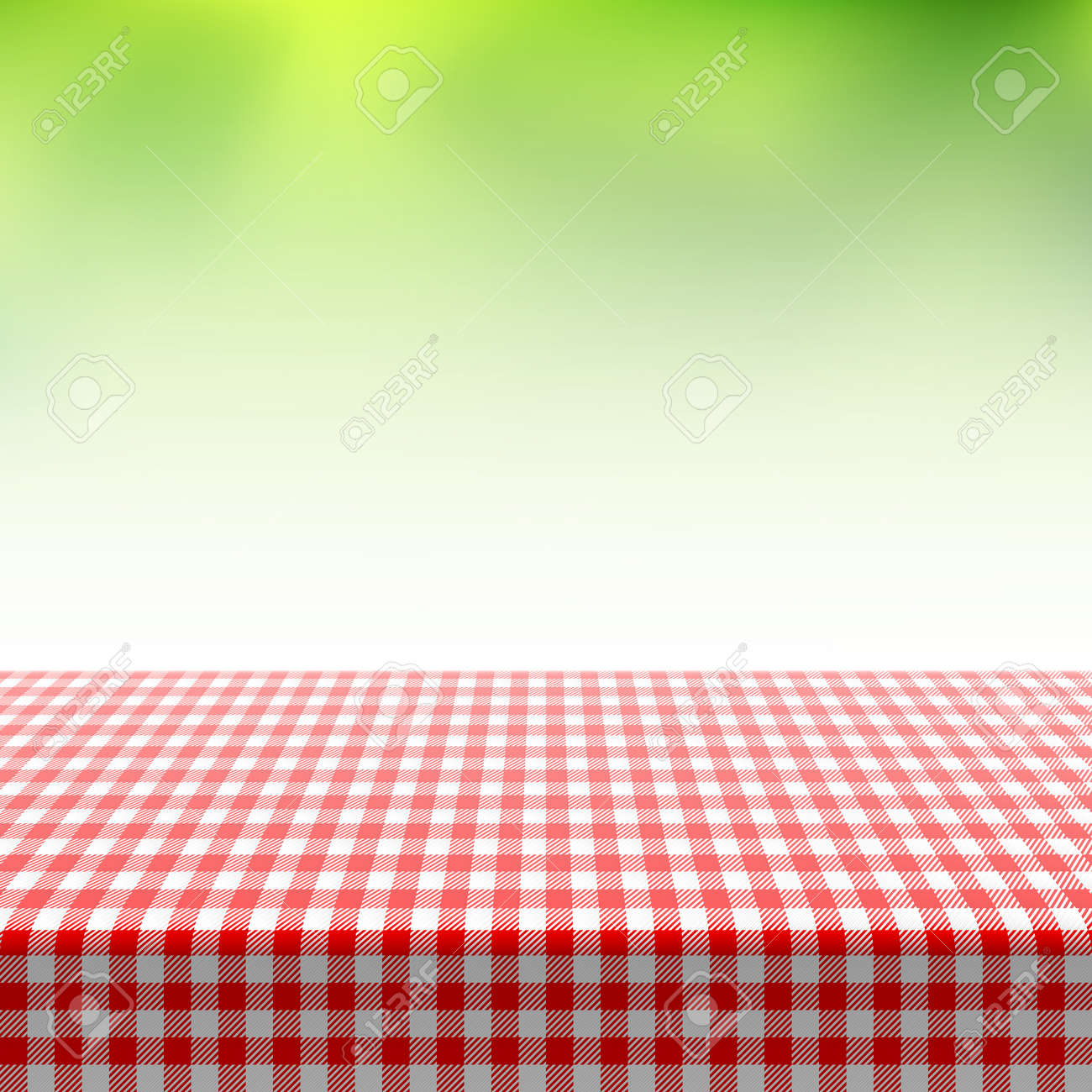 Picnic Table Covered With Checkered Tablecloth Stock Vector   29083735