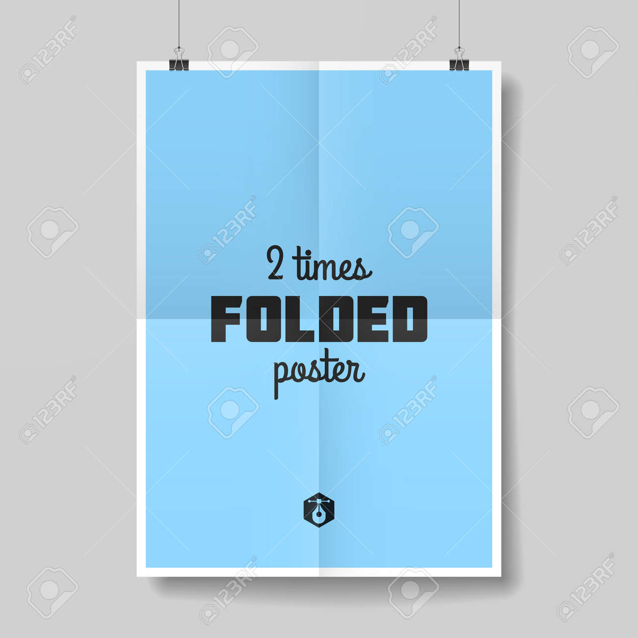 Two times folded poster template - 31437748