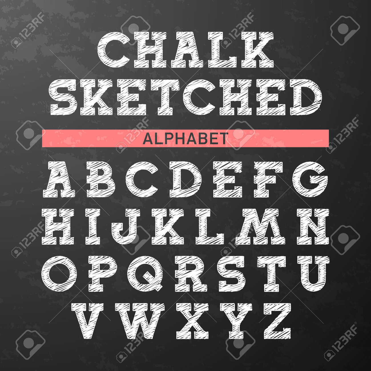 chalk sketched font alphabet stock vector 31567955