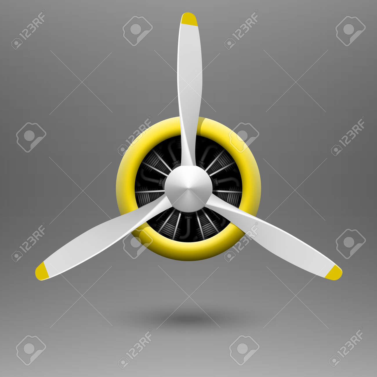 3d5e4f68f1a1 Vintage Airplane Propeller With Radial Engine Royalty Free Cliparts ...