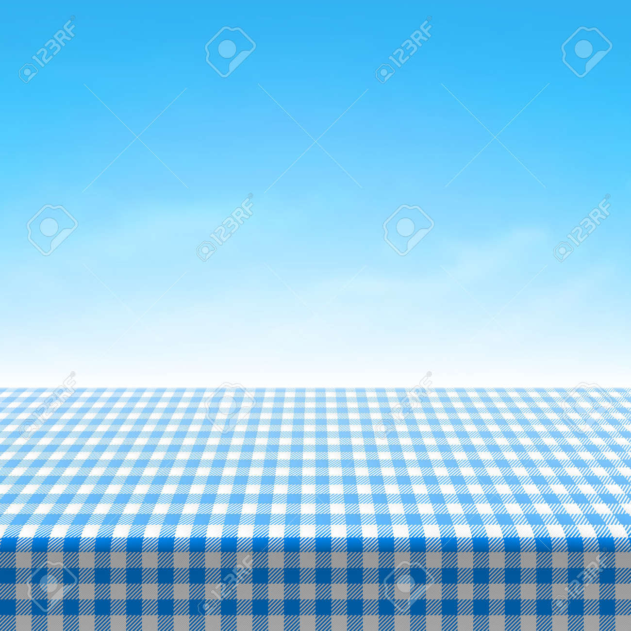 Empty picnic table covered with blue checkered tablecloth - 33665084