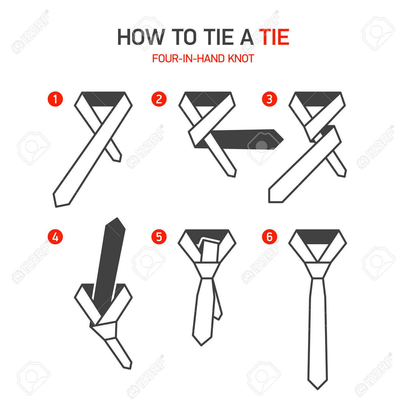 How To Tie A Tie Instructions, Fourinhand Knot Stock Vector