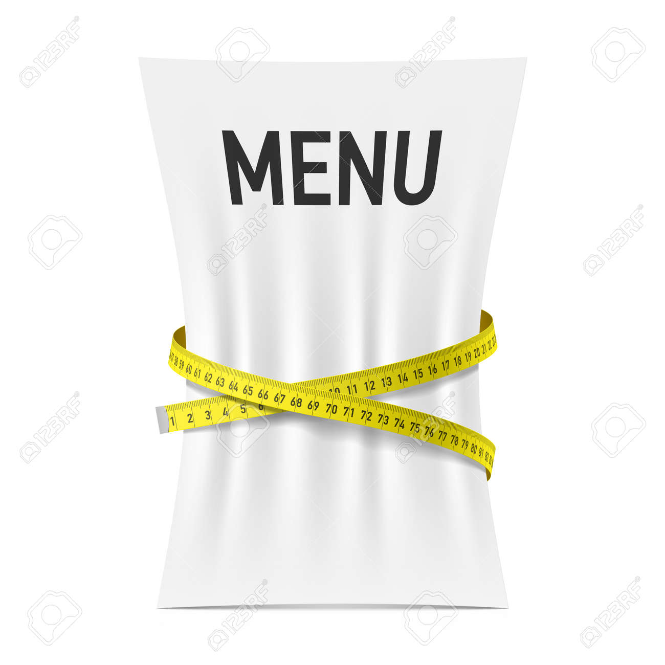 Menu squeezed by measuring tape, diet theme concept - 35793731