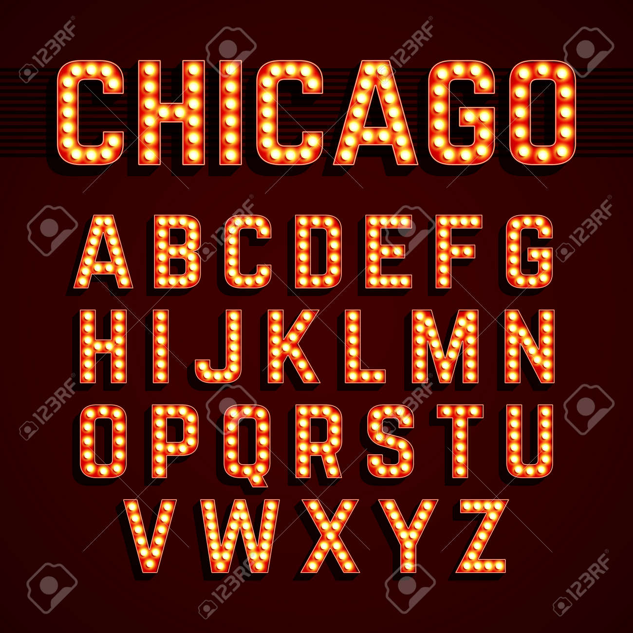 Broadway lights style light bulb alphabet - 40047591