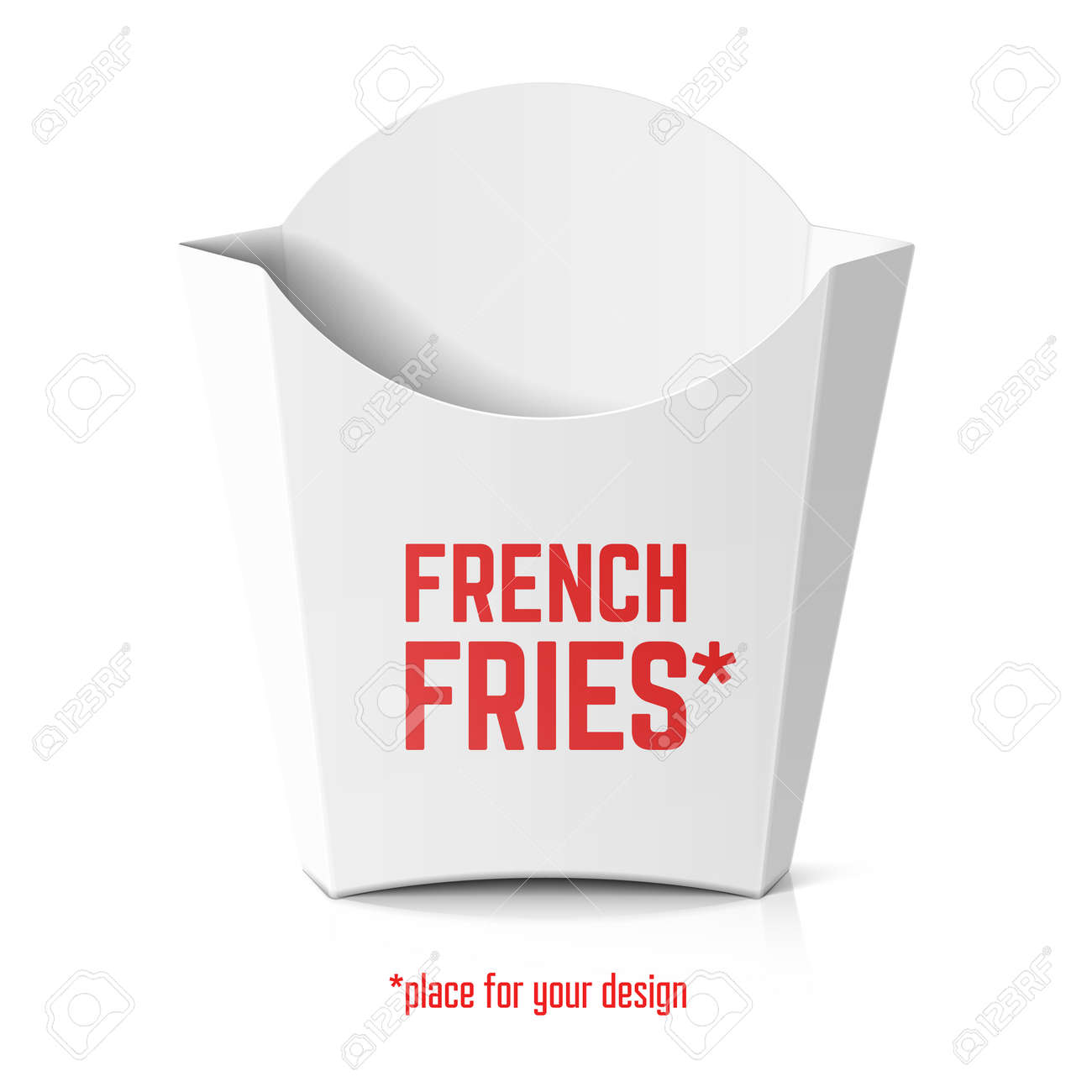French Fries White Paper Box Template For Your Design Royalty Free ...