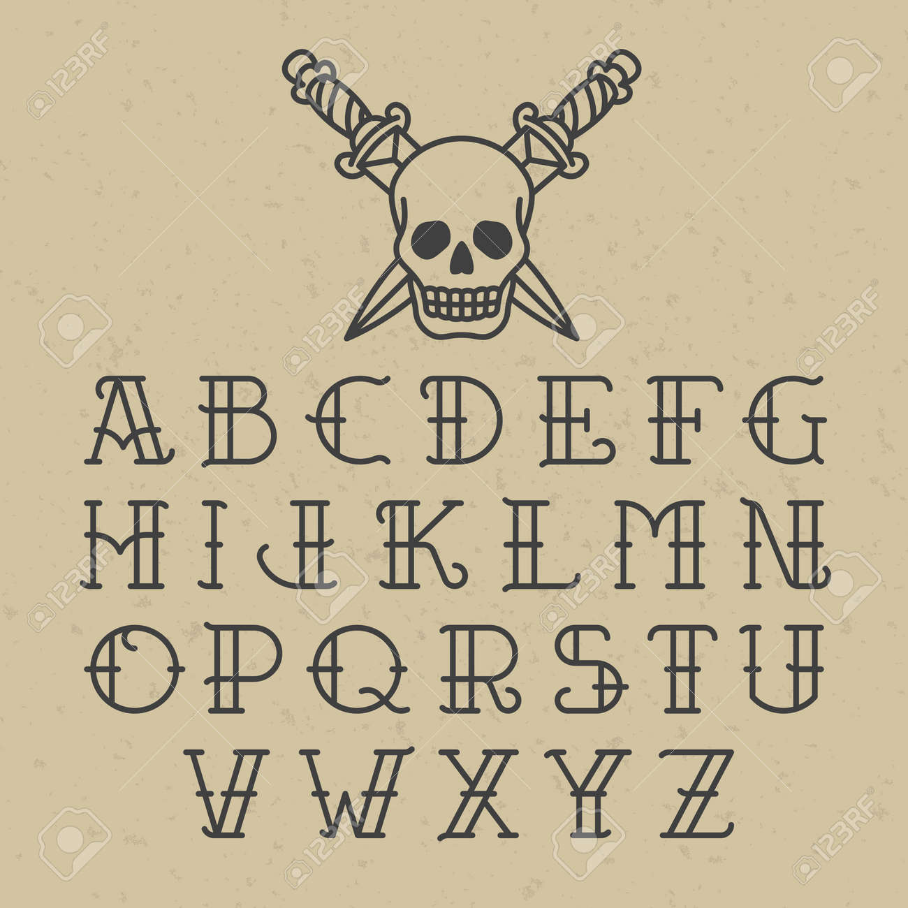 Old School Tattoo Alphabet Stock Vector