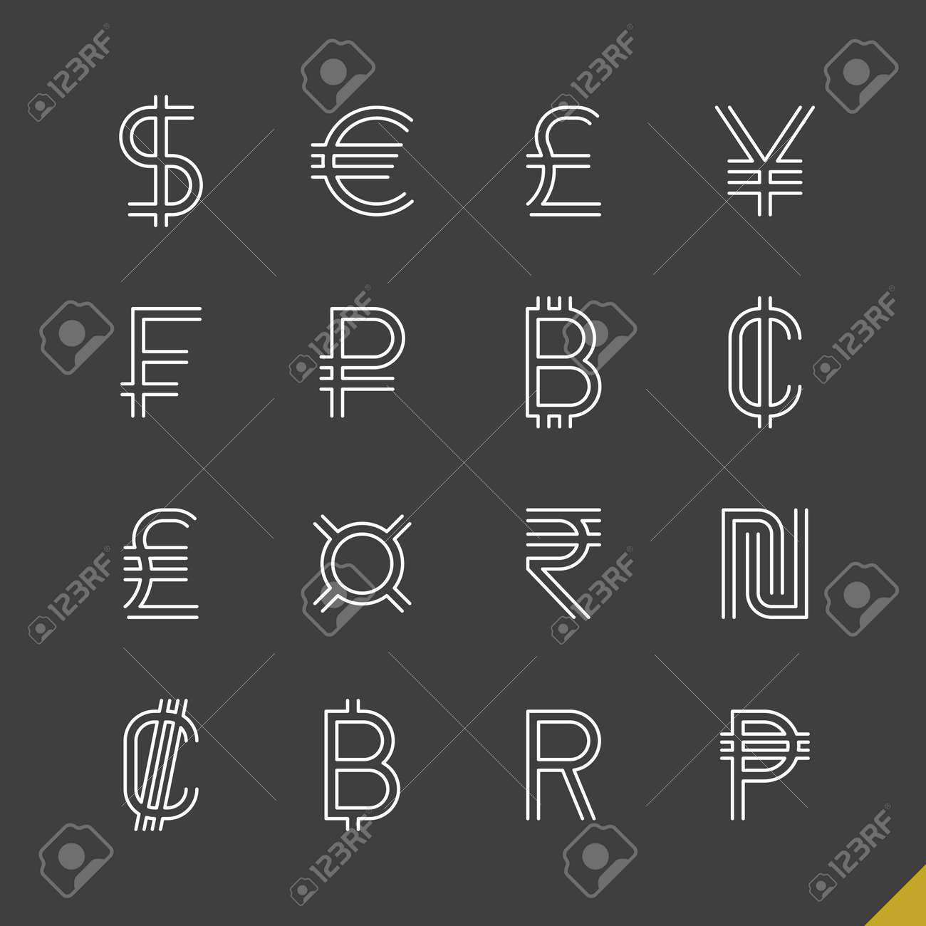 Thin linear world currency symbols icons set with baht, bitcoin, cent, colon, dollar, euro, franc, peso, pound, ruble, rupee, shekel, yen and generic currency sign - 48711864