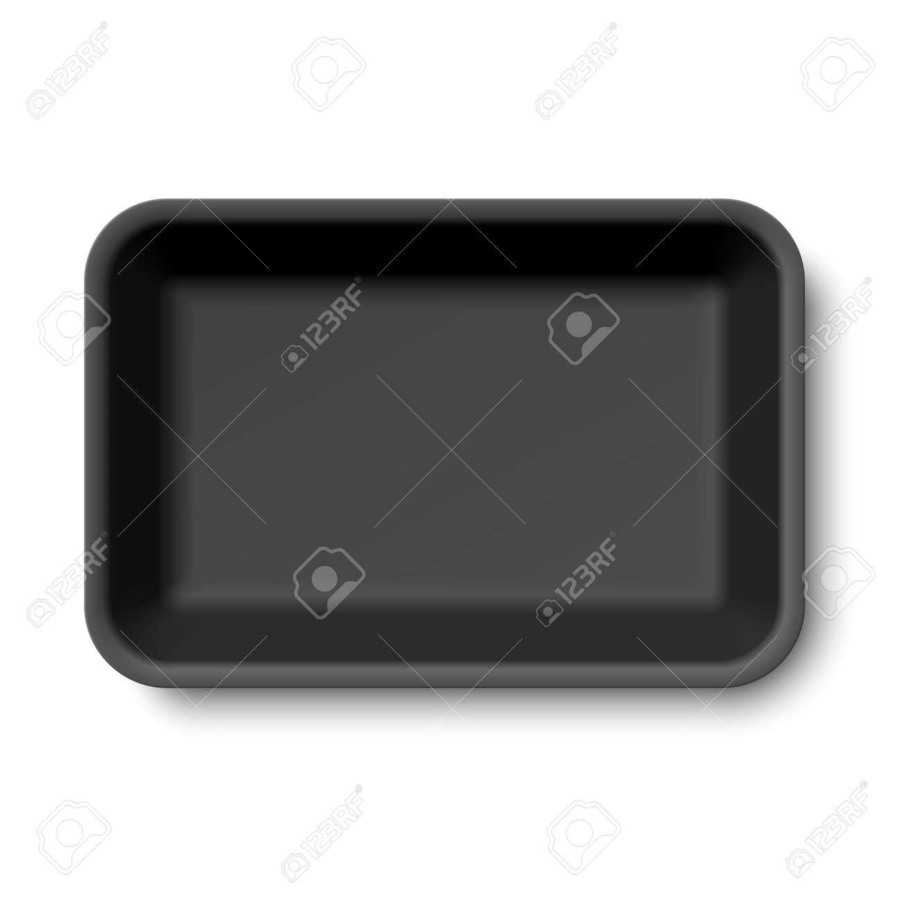 Black empty styrofoam food tray - 51741193