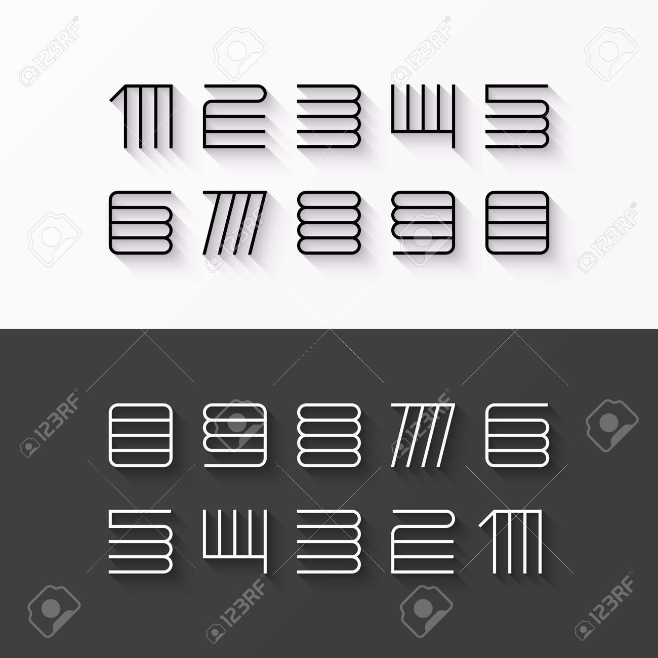 Thin line style linear modern font numbers with shadow effect stock vector 52470800