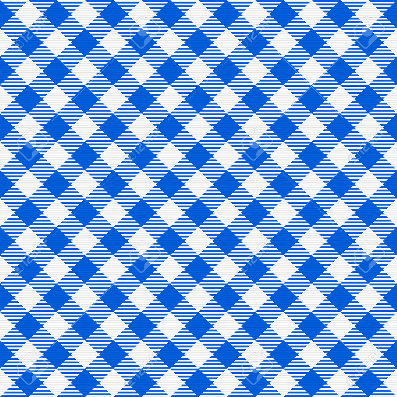 Blue And White Seamless Checkered Tablecloth. Traditional Gingham Pattern,  Checkered Fabric, Tablecloth Texture