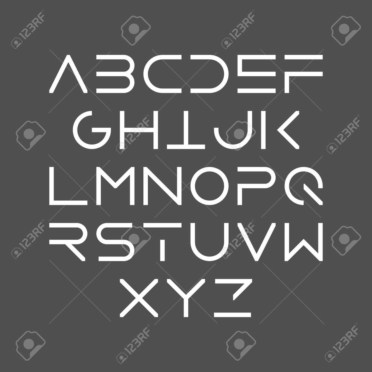 Thin line bold style uppercase modern font, typeface, minimalist style. Latin alphabet letters. - 58649875
