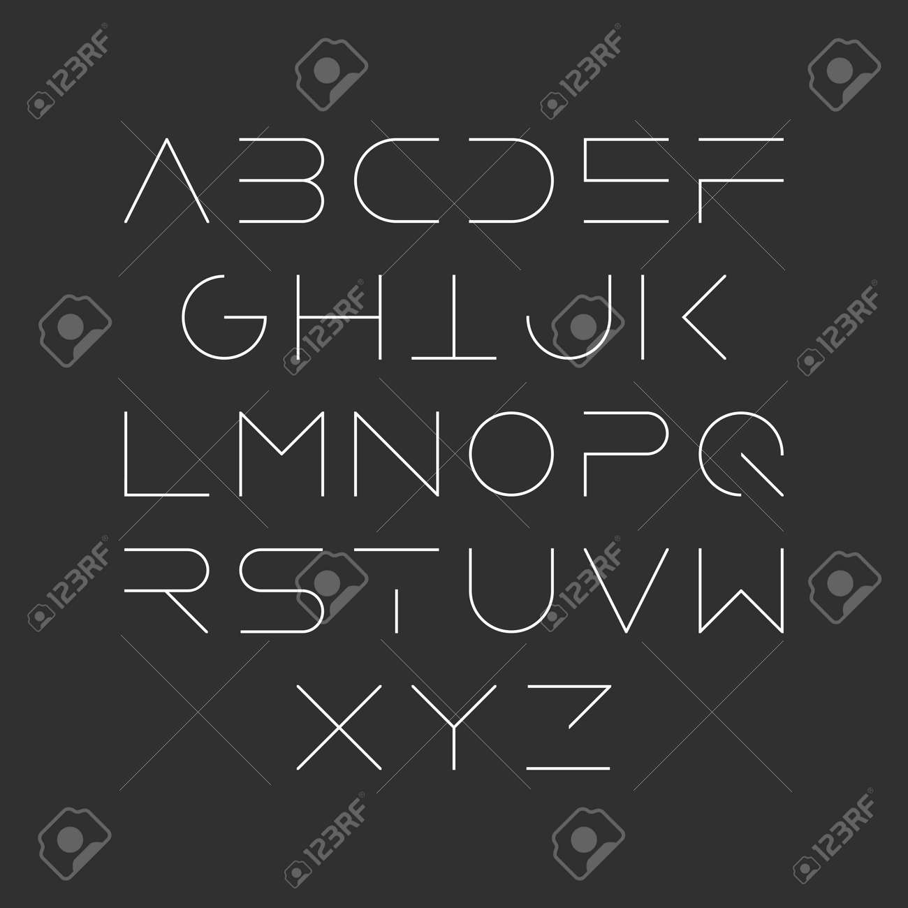 Extra Thin Line Style Linear Uppercase Modern Font Typeface