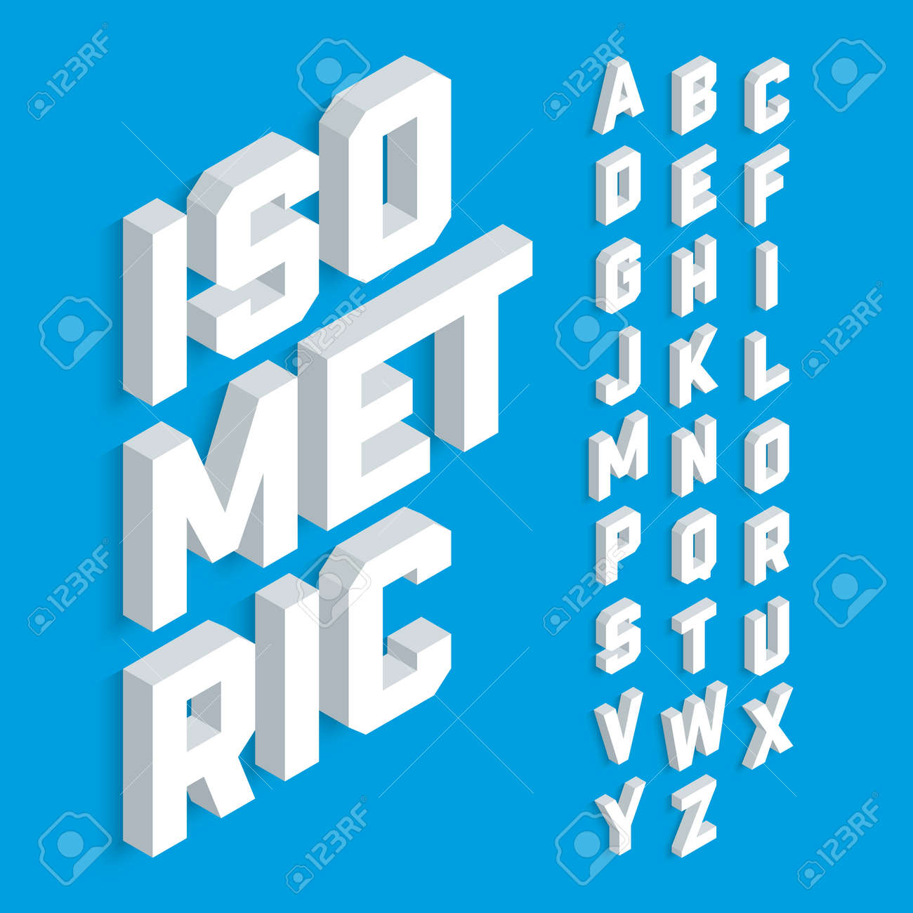 White isometric 3d font, three-dimensional alphabet letters. - 58649881