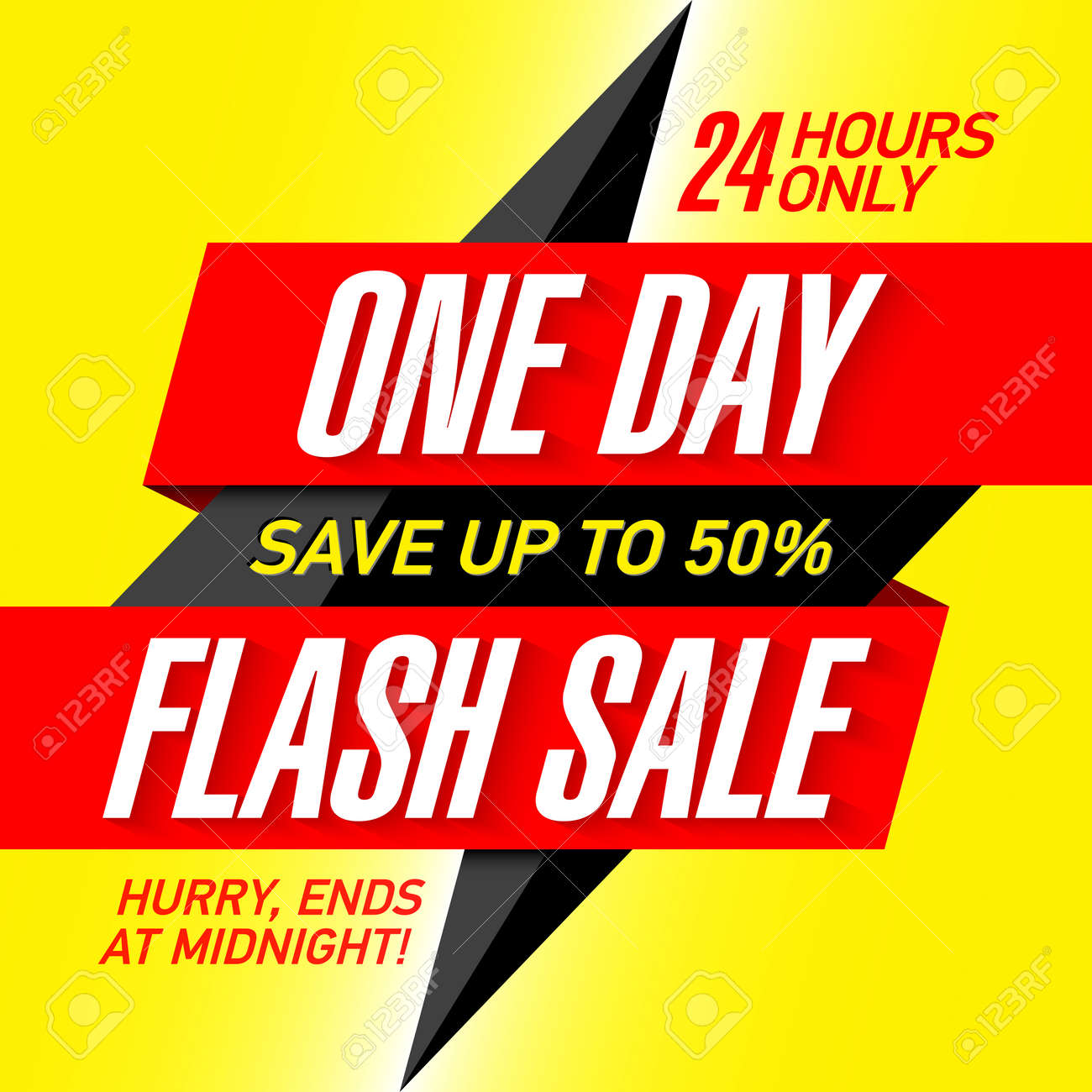 One Day Flash Sale Banner Design Template Royalty Free Cliparts ...