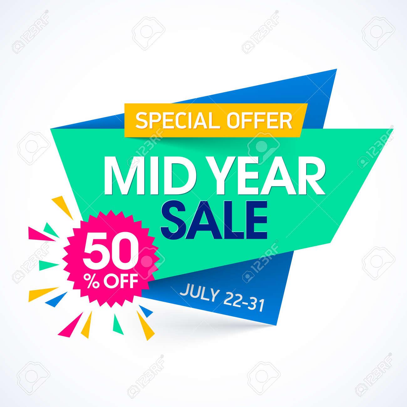 da10587eb5324 Mid Year Sale paper banner design template