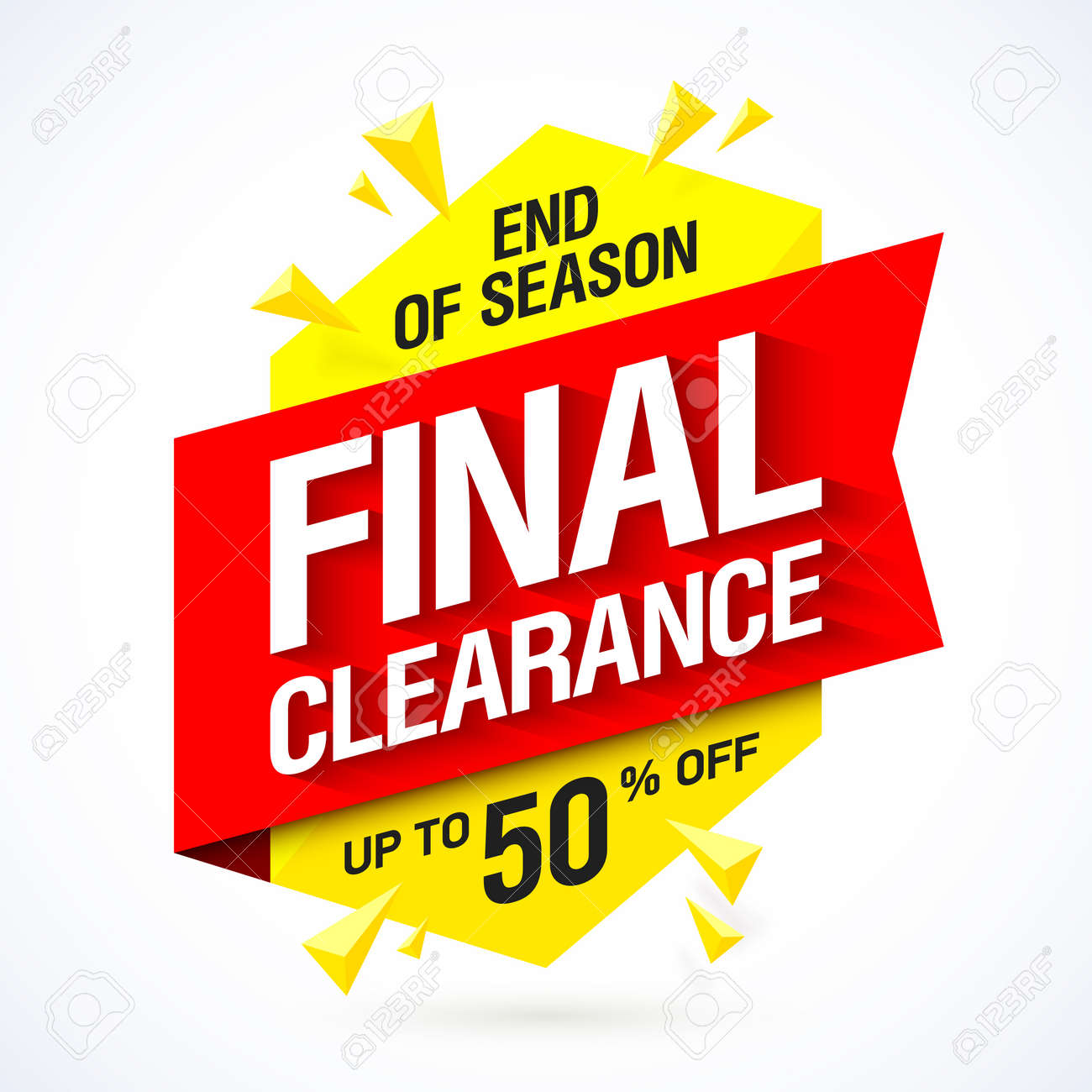 end of season final clearance sale banner design royalty free