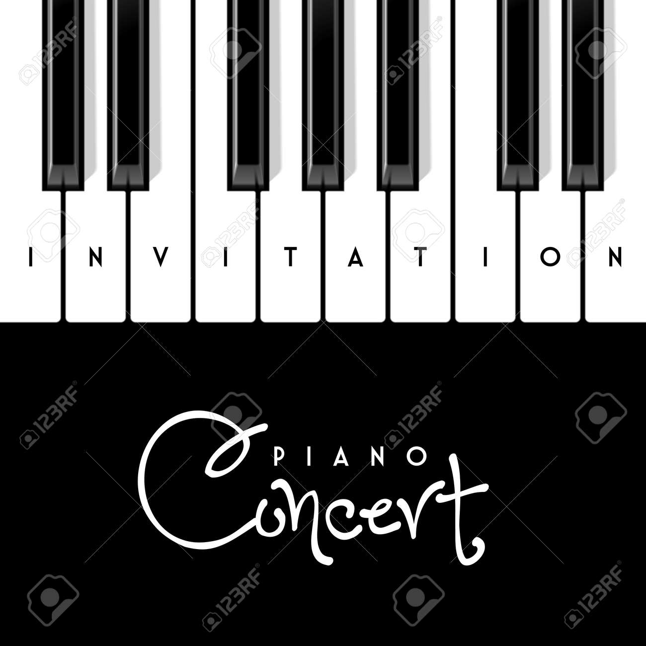 piano concert invitation design template stock vector 65332125