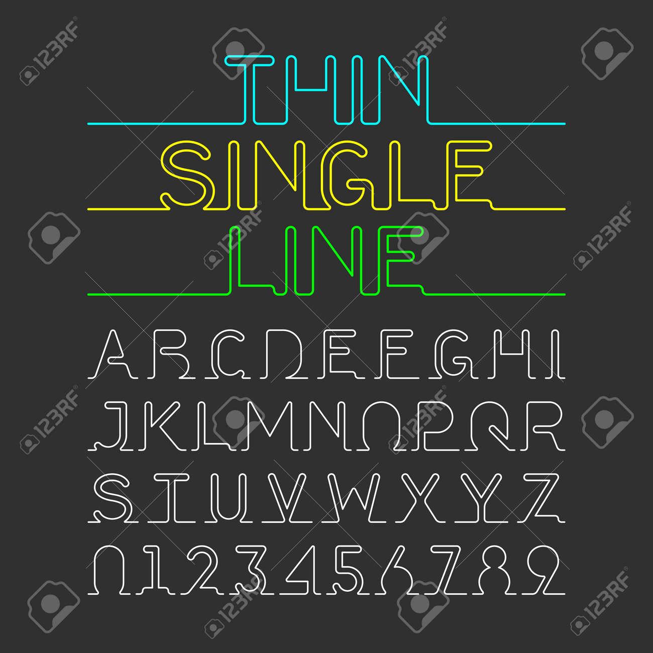 Thin Single Line font  One continuous line modern font, alphabet