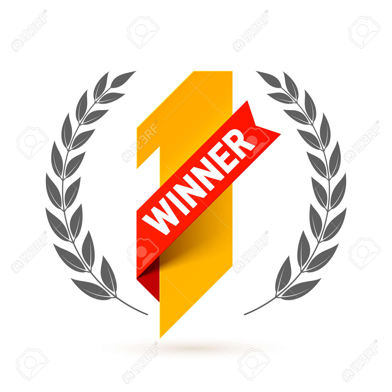 First winner, number one illustration with red ribbon and laurel wreath - 65332314