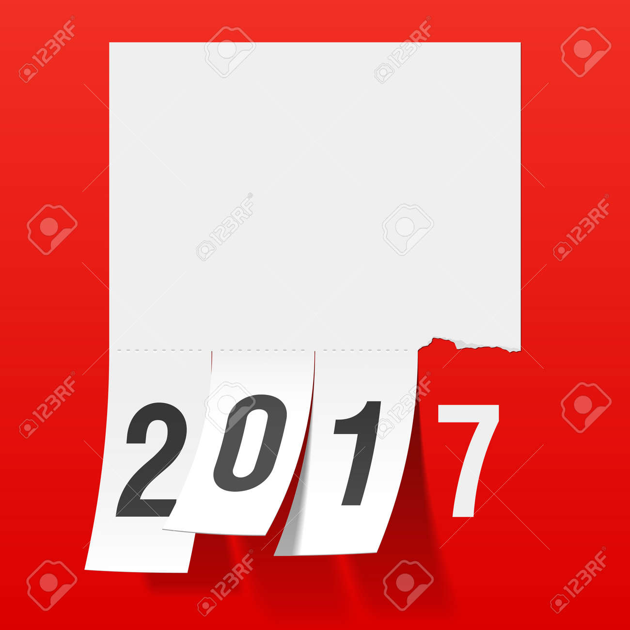 New Year 2017 Greeting Card Tear Of Paper Notice Tear Off Tabs – Tear off Tabs