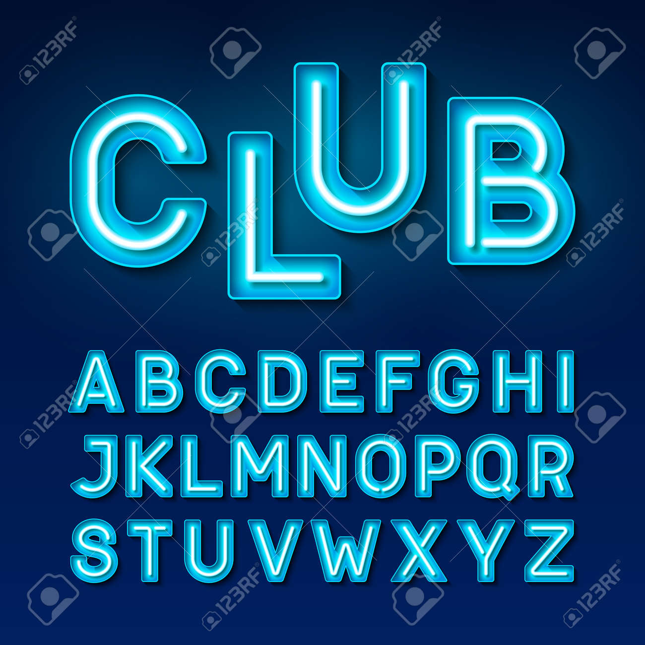 Broadway Night Club Vintage Style Neon Font Stock Vector