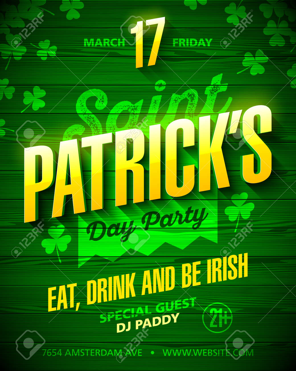Saint Patrick\'s Day Party Poster Design. Eat, Drink And Be Irish ...