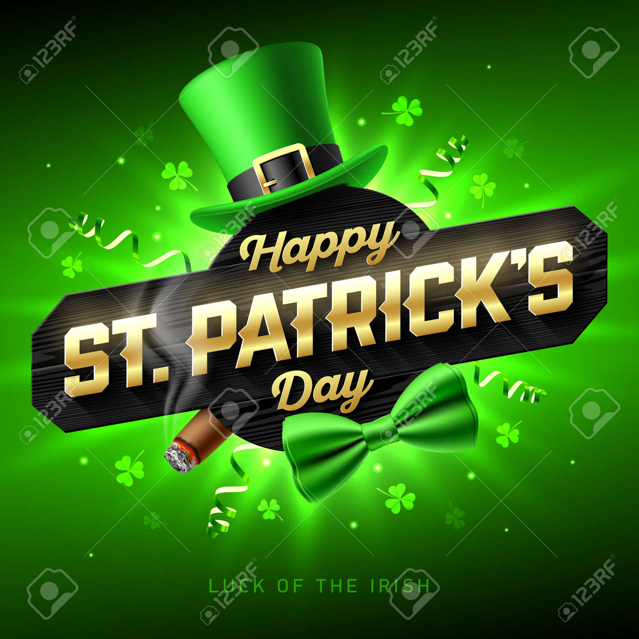 Happy St Patricks Day Greeting Card Poster Or Banner 17 March