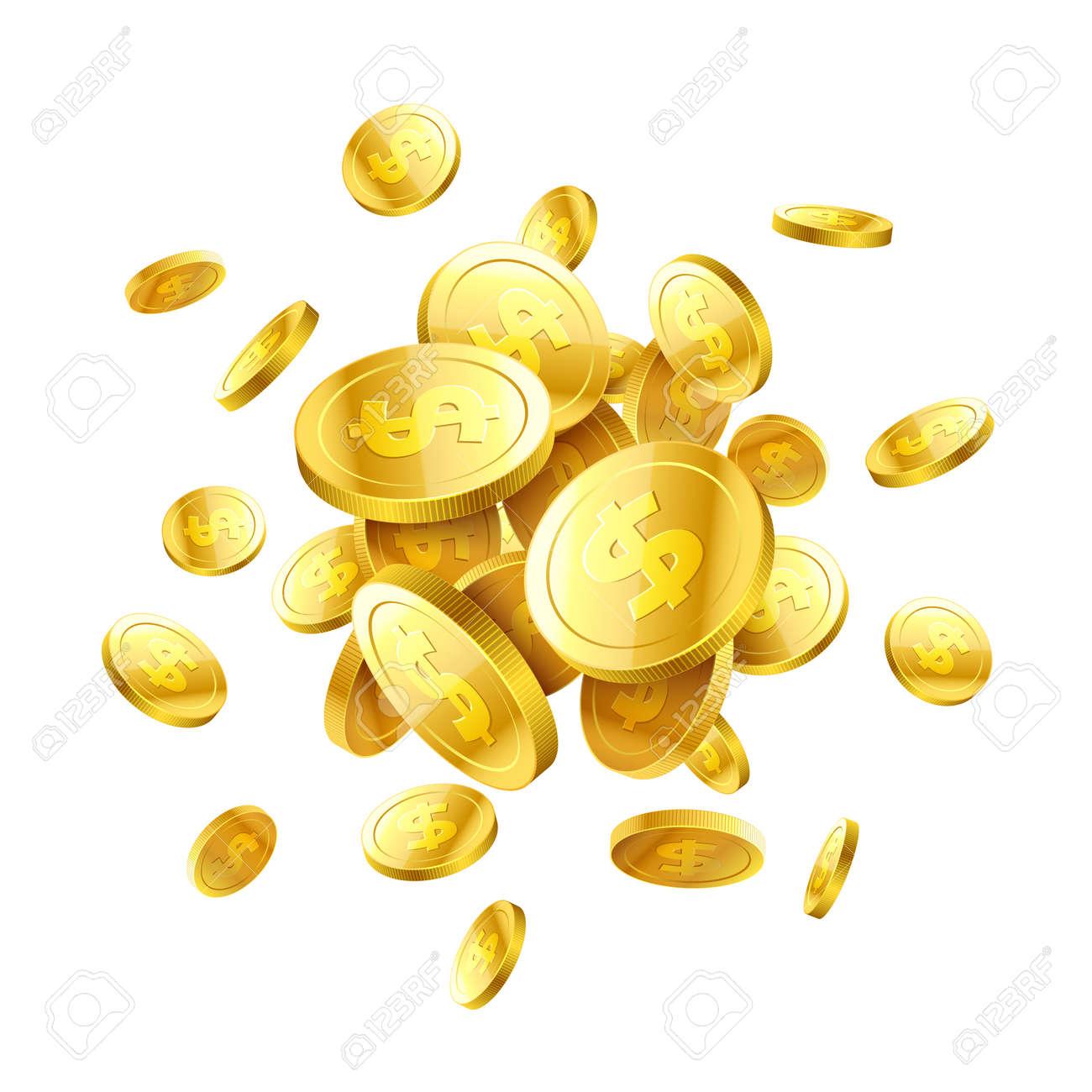 Gold 3d coins - 74405365