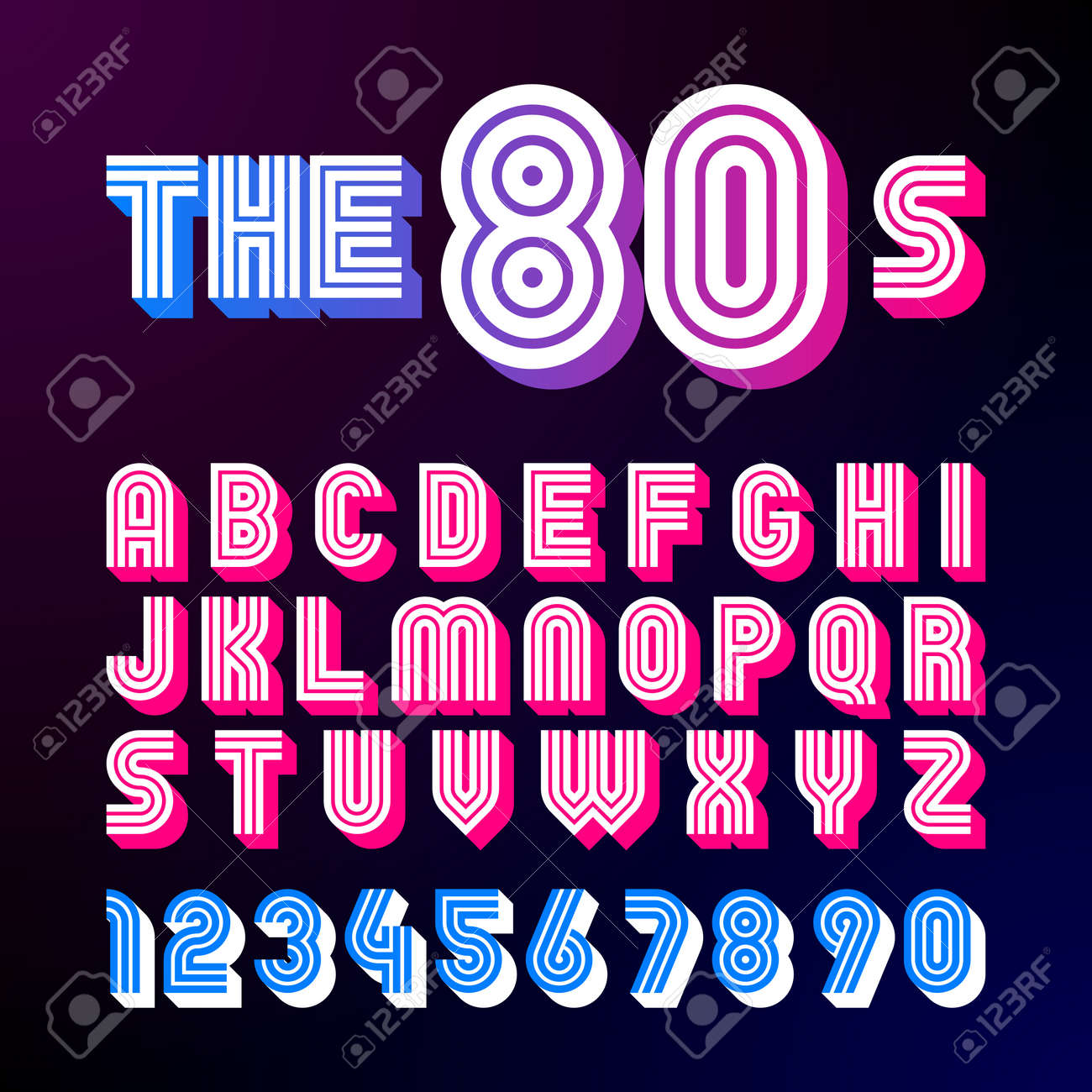 Eighties Style Retro Font 80s Design With Shadow Disco Alphabet And