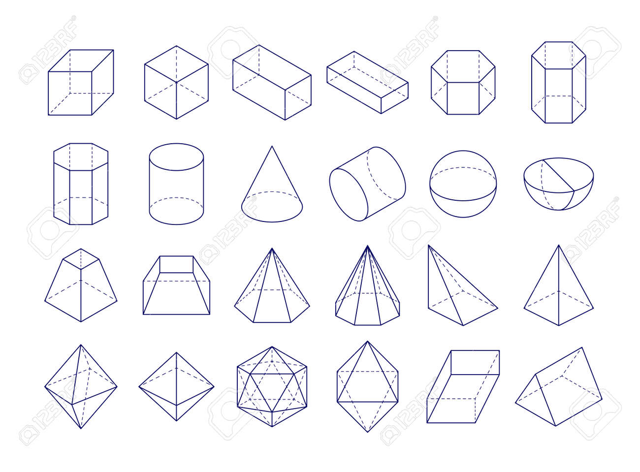 3D geometric shapes icon