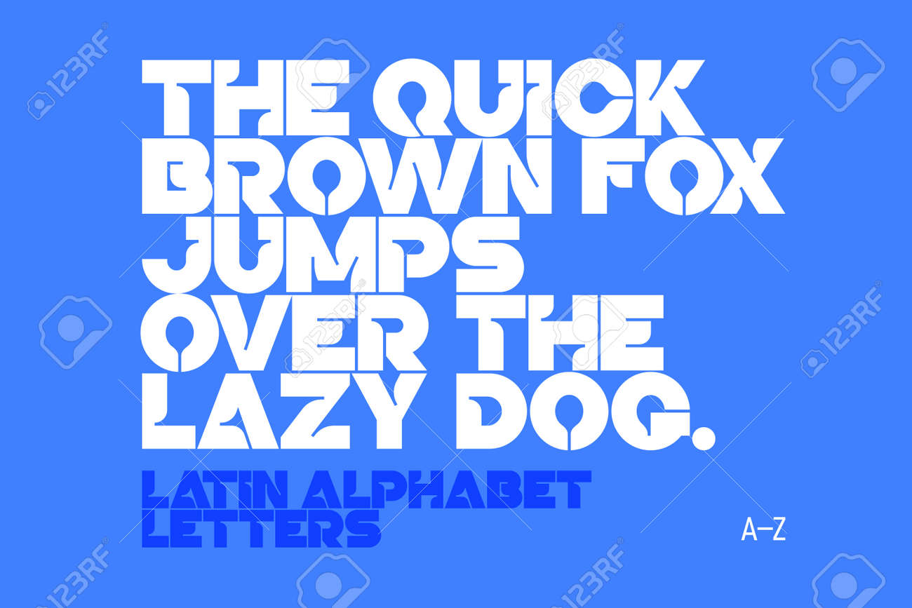 Bold Style Modern Font AZ Letters Vector Illustration The Quick Brown Fox Jumps