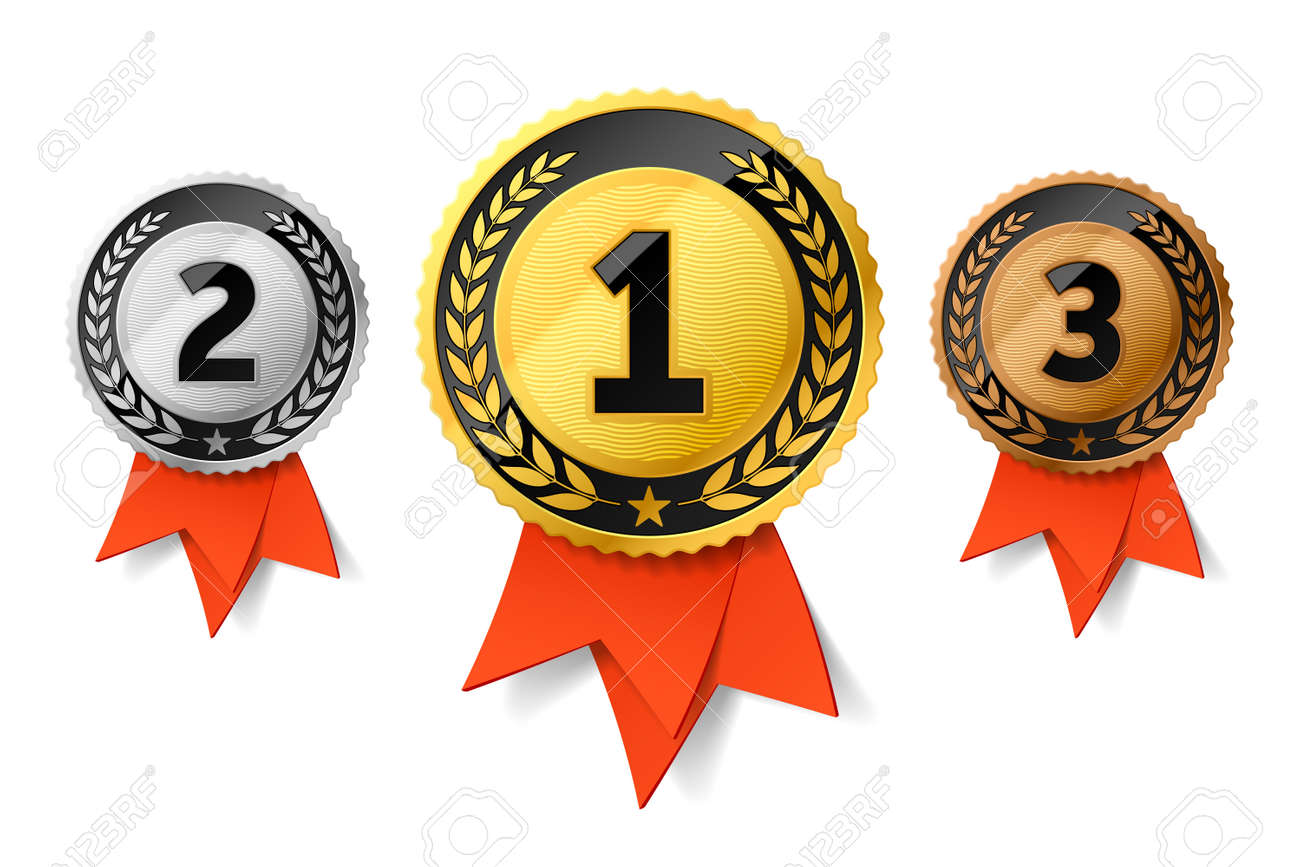Champions gold, silver and bronze award medals with red ribbon. First, second and third places awards - 96522377