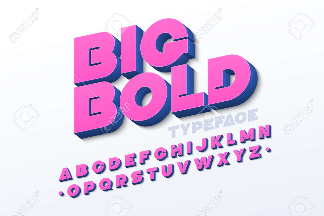 Bold 3d font in pink color - 98748302