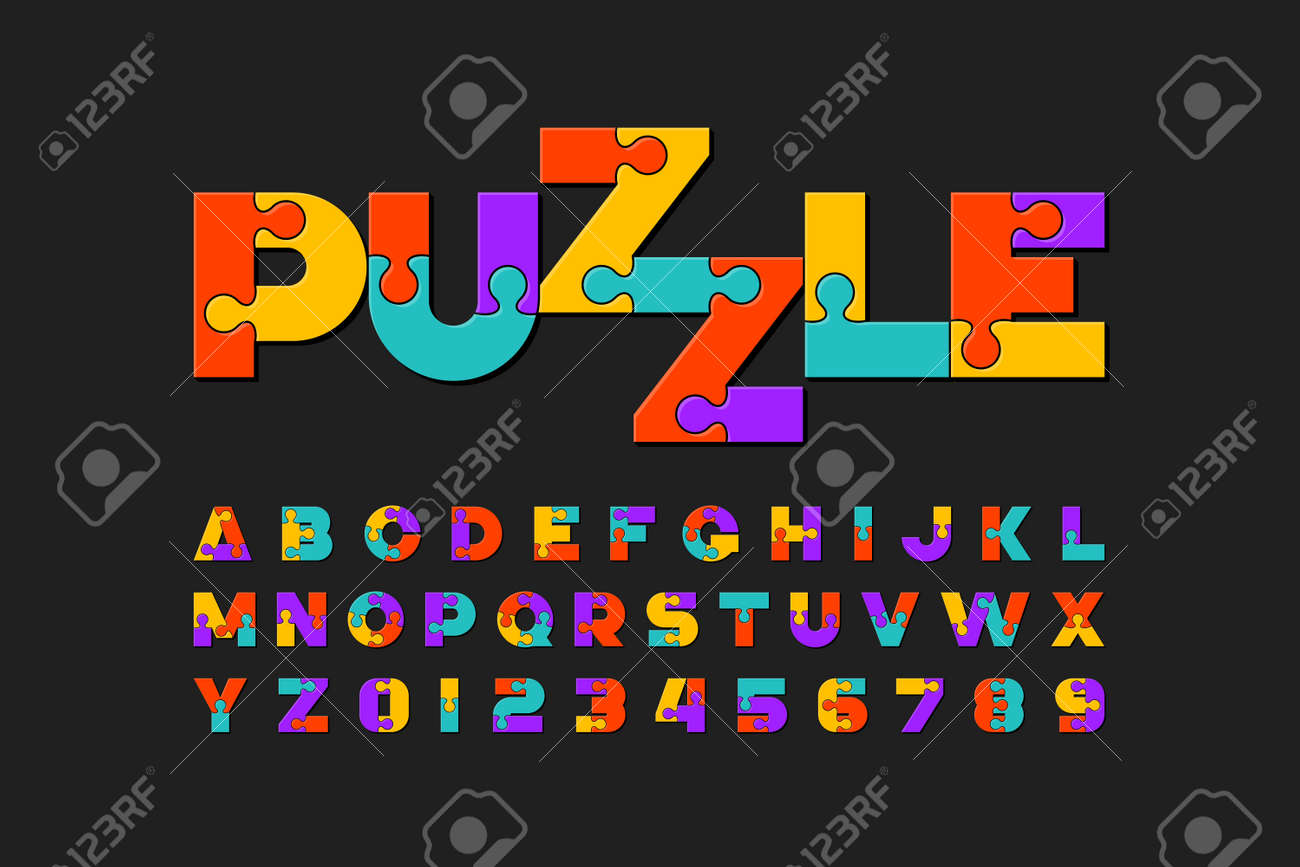 Puzzle font, colorful jigsaw puzzle alphabet letters and numbers - 114858313