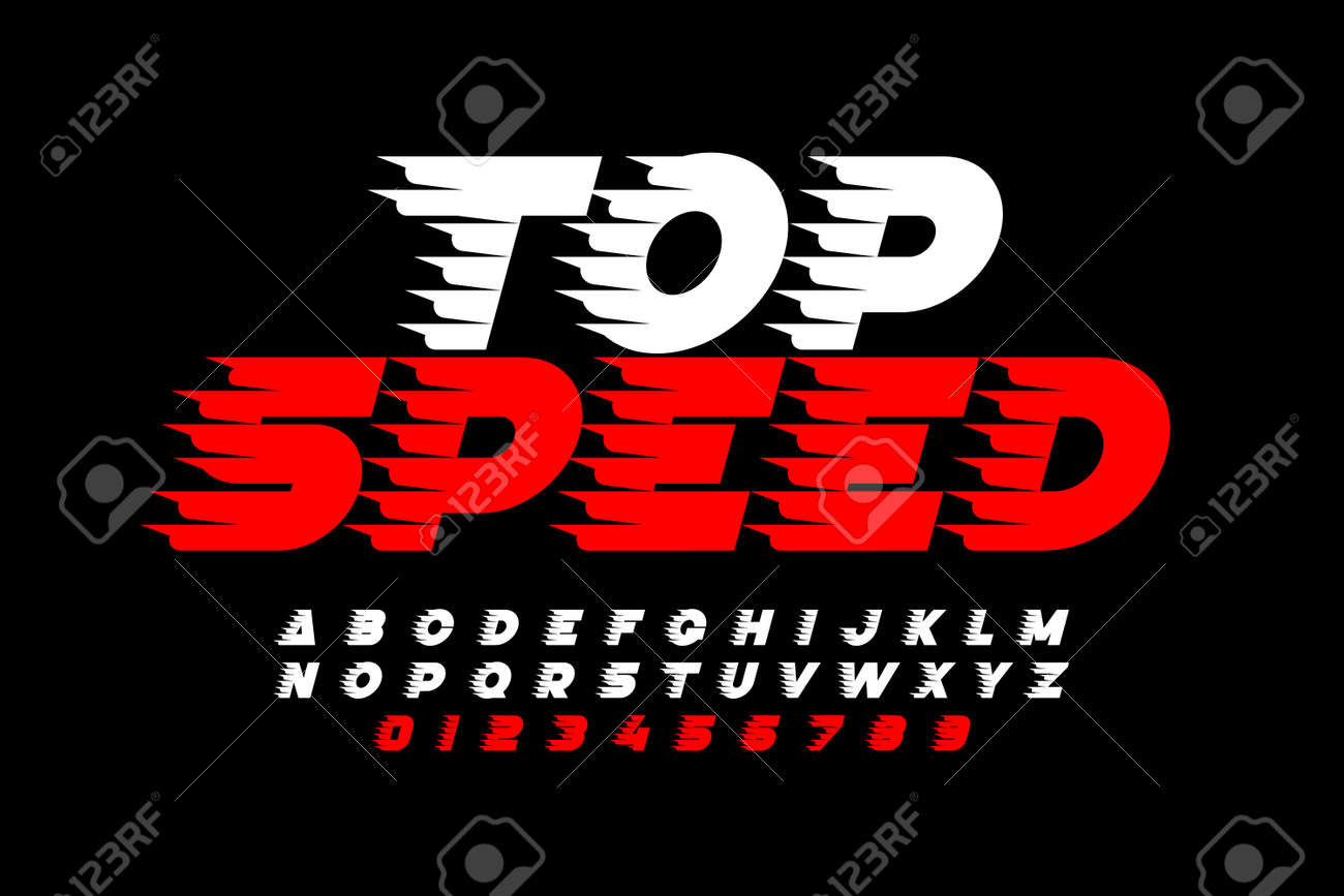Top Speed style font, alphabet and numbers - 105309643