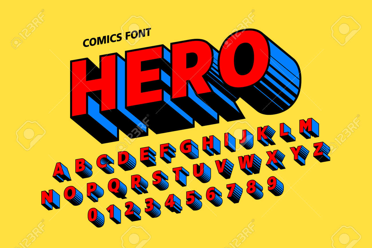Comics style font design, alphabet letters and numbers - 106549425