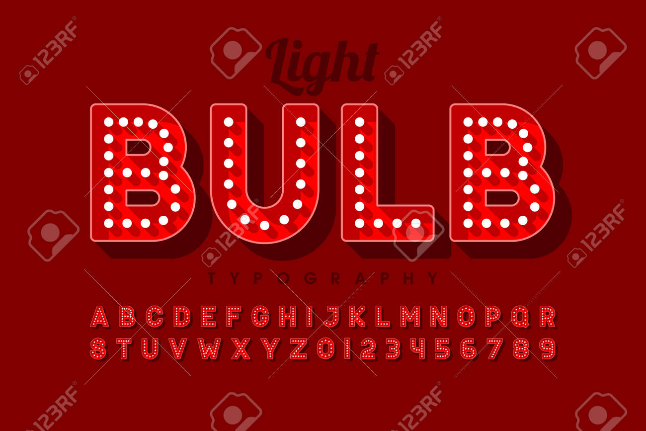 Vintage light bulb font design, Broadway style alphabet letters and numbers - 128182428