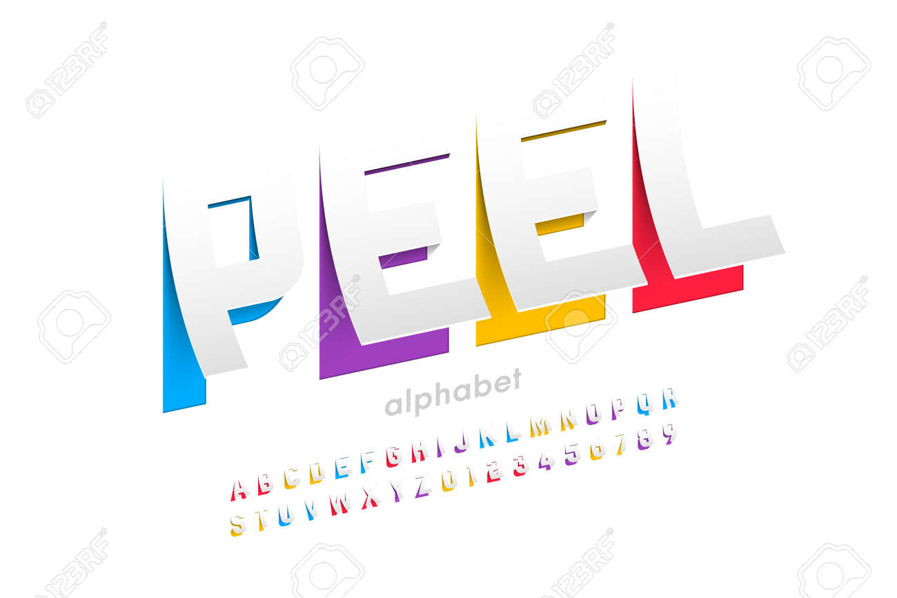 Peeled style font design, alphabet letters and numbers - 128182494