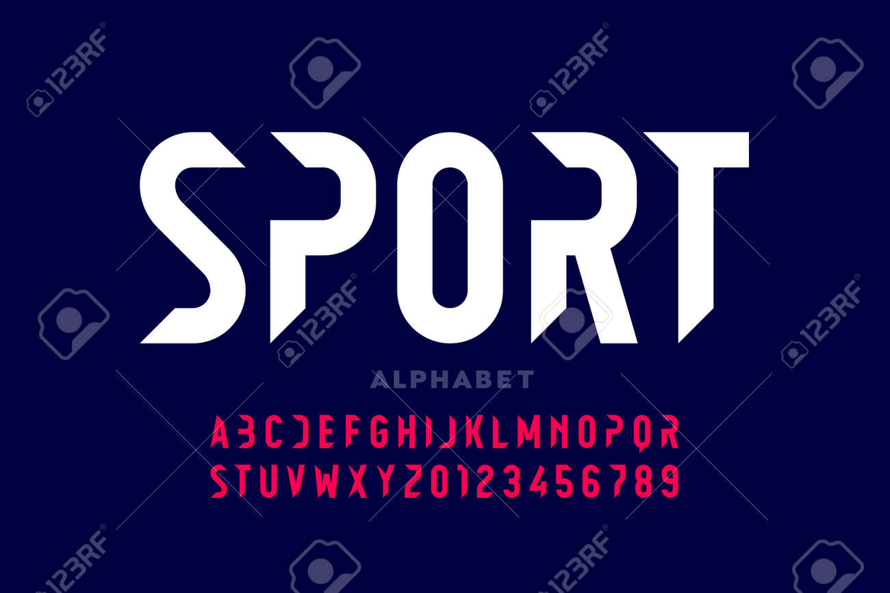 Sport style modern font, alphabet letters and numbers - 128280435