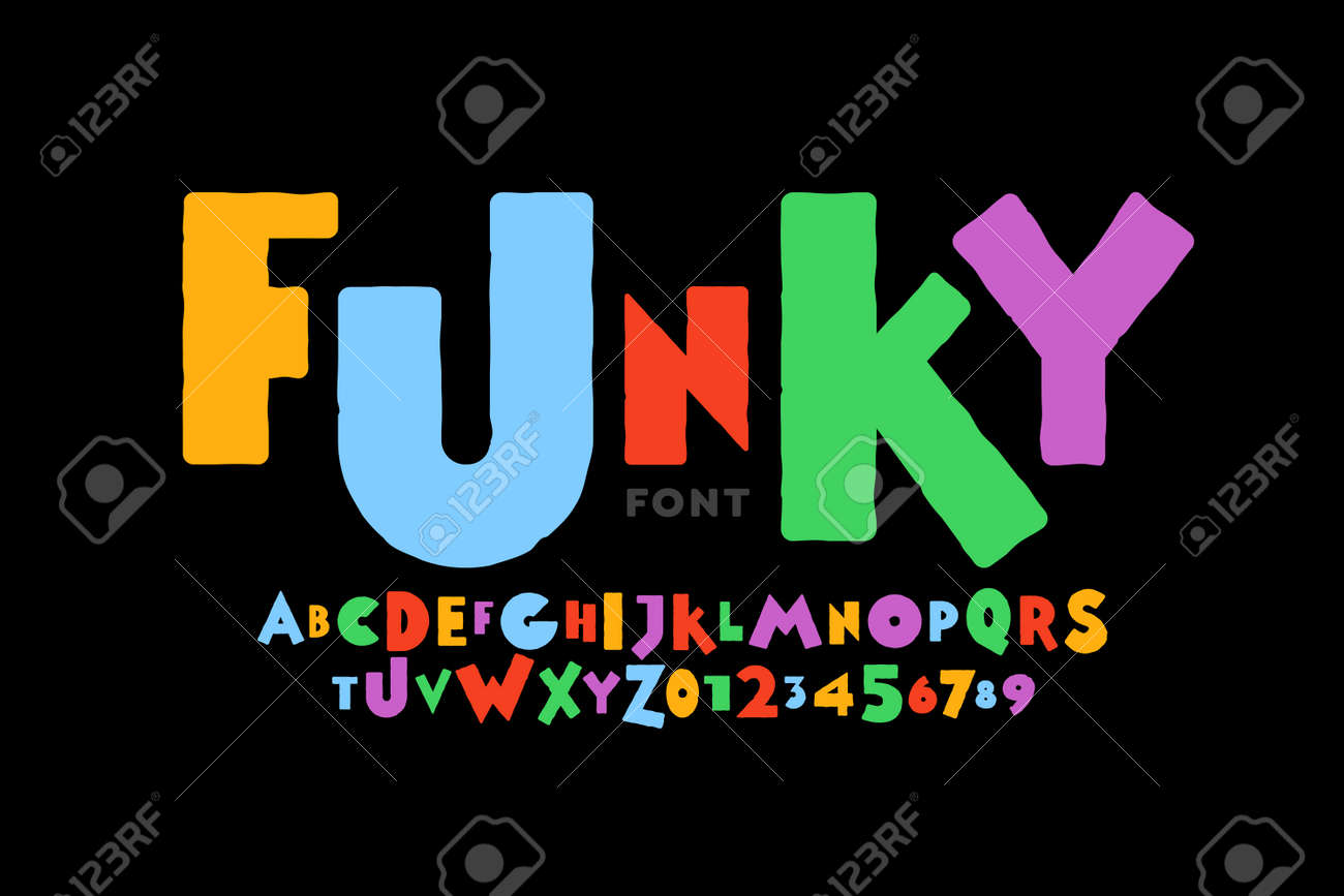 Playful style font design, childish alphabet letters and numbers vector illustration - 155073291