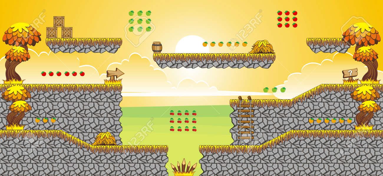 Tile set Platform for Game - A set of layered vector game asset,