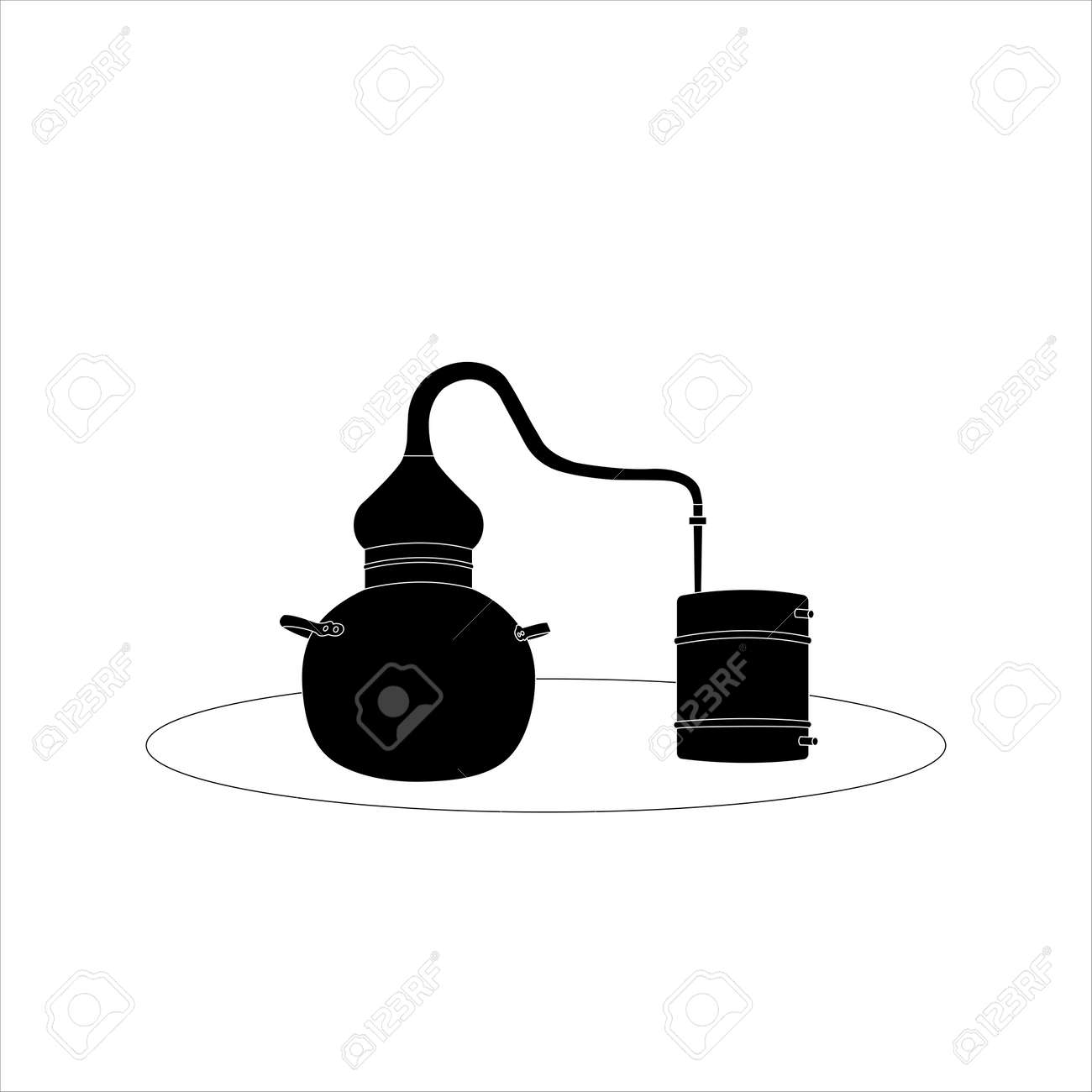 Alambic Copper Icon. Distillation apparatus used for the production of alcohol, essential oils and moonshine. vector illustration. - 171745746