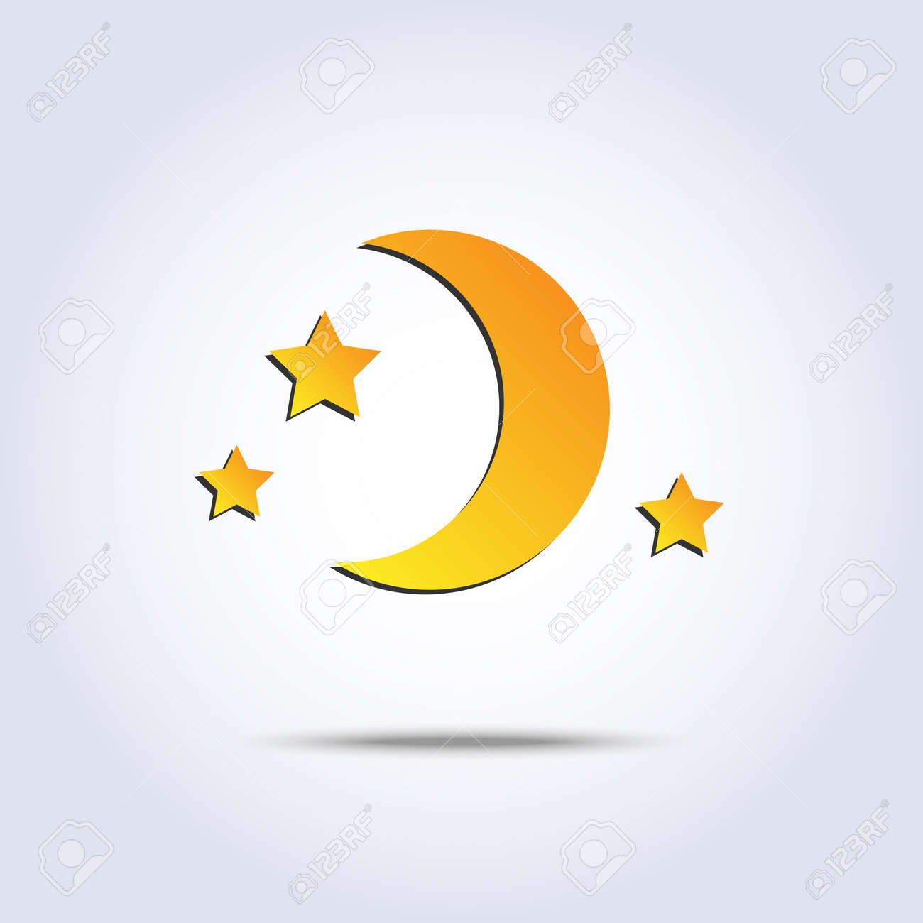 new moon and stars icon in vector Stock Vector - 29001650