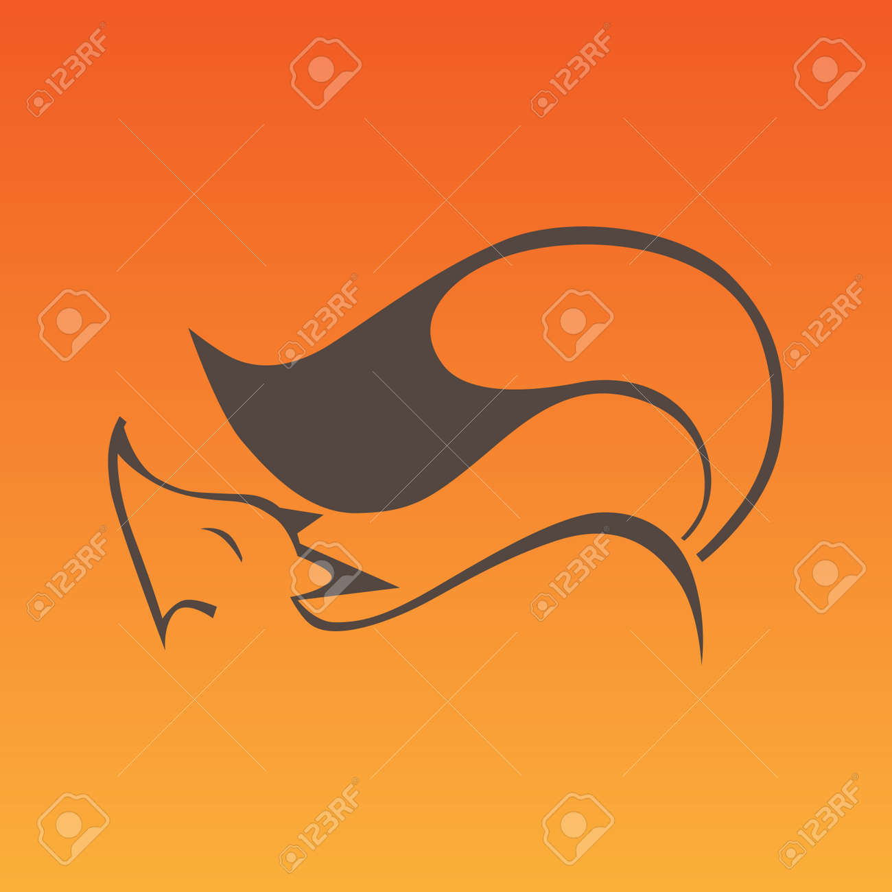 Fox sign in curve lines Stock Vector - 32976624
