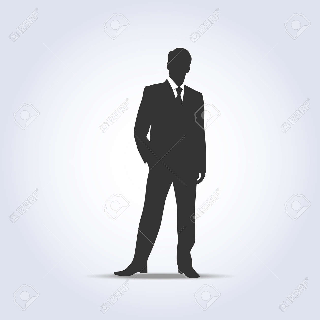 Standing businessman silhouette gray color Stock Vector - 34138279