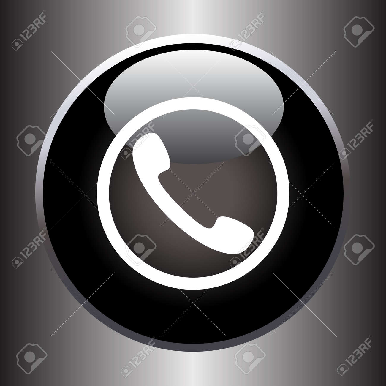Phone handset icon on black glass button. Vector illustration Stock Vector - 35187149