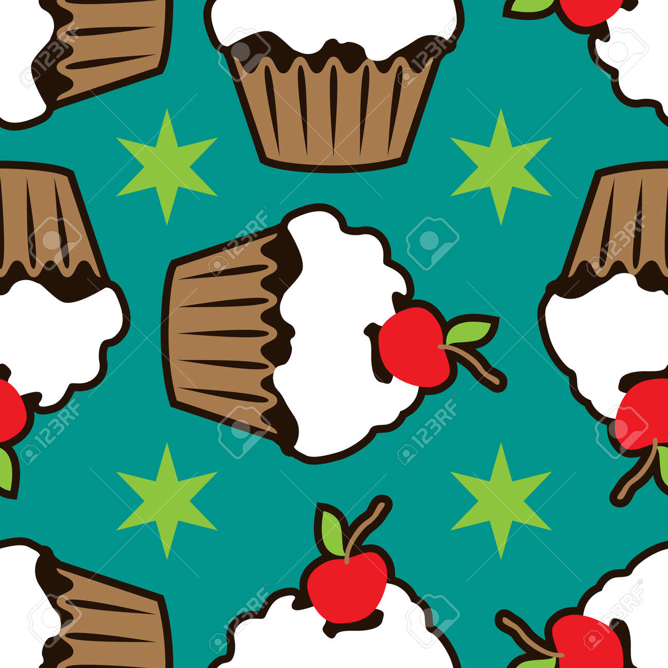 Cream vanilla choco cake seamless pattern Stock Photo - 88148143
