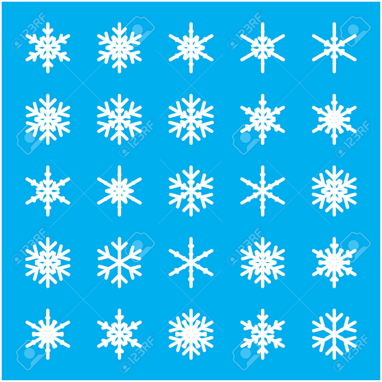 Set of different winter snowflakes Vector illustration Stock Vector - 88142963