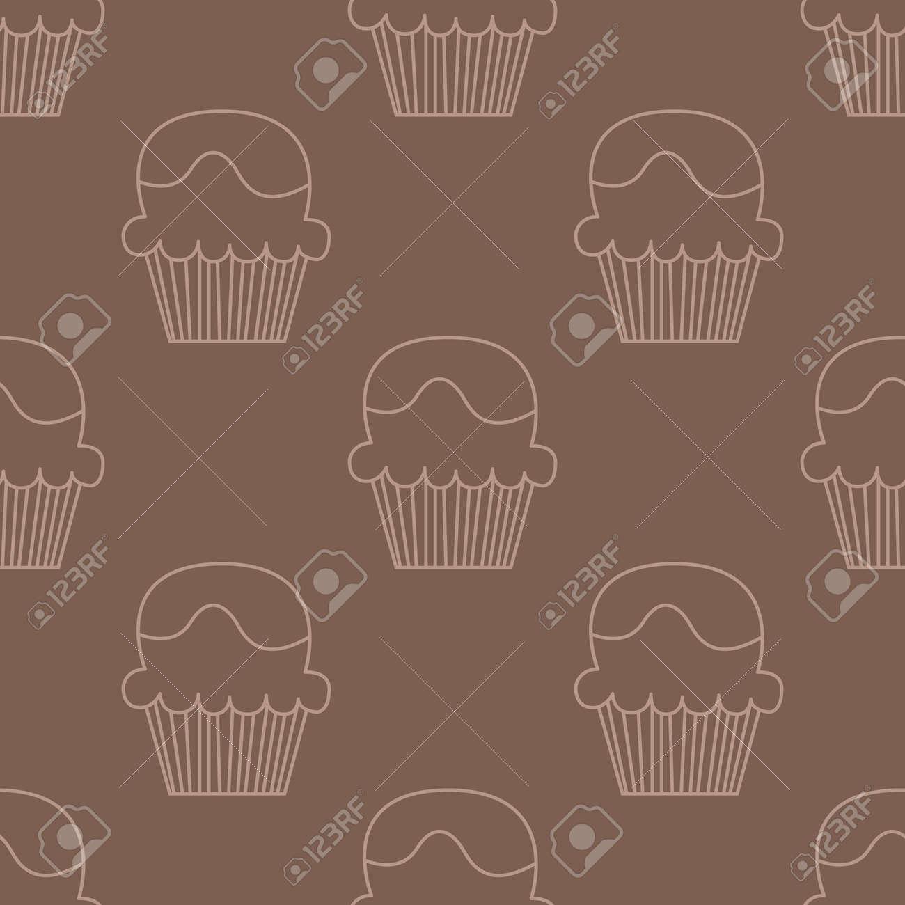 Cream choco cake borderless pattern Stock Vector - 88145103