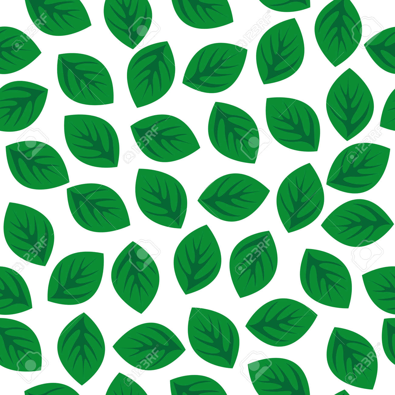 Seamless pattern with green leaves. Vector illustration Stock Vector - 88187496